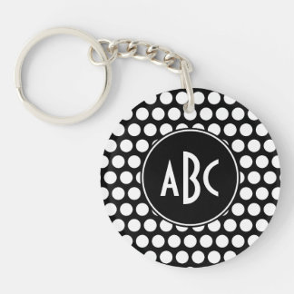 Monogrammed Black and White Polka Dots Keychain