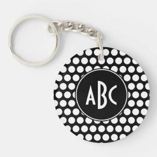 Monogrammed Black and White Polka Dots Keychain