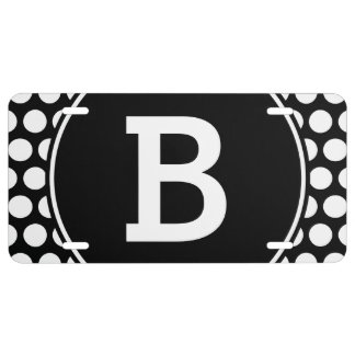 Monogrammed Black and White Polka Dots License Plate