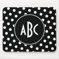 Monogrammed Black and White Polka Dots Mouse Pad
