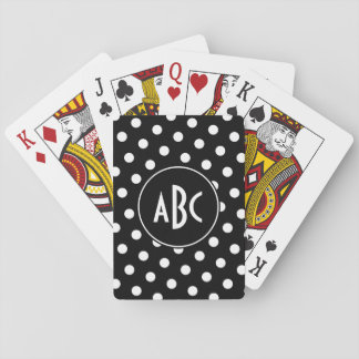 Monogrammed Black and White Polka Dots Poker Deck