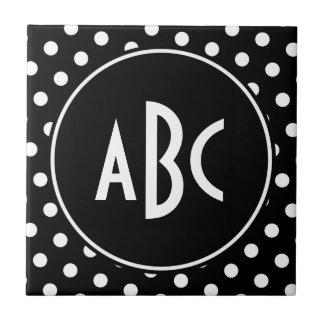 Monogrammed Black and White Polka Dots Ceramic Tile