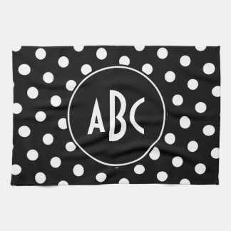 Monogrammed Black and White Polka Dots Towel