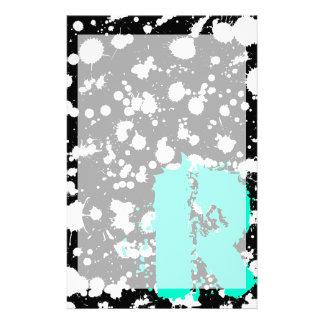 Monogrammed Black and White Splatter Paint Art Stationery