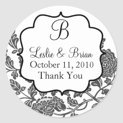 Monogrammed Black and White Wedding Stickers from Zazzle.com