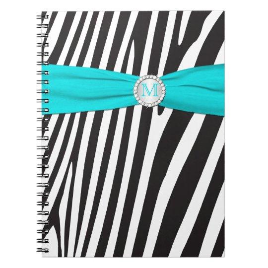 Monogrammed Black Aqua White Zebra Stripe Notebook