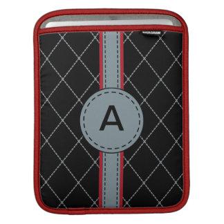 Monogrammed Black Argyle iPad Sleeve