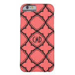 Monogrammed Black & Coral-Red Quatrefoil Pattern Barely There iPhone 6 Case