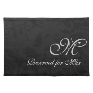 Monogrammed Black Damask Dog Personalized Placemat