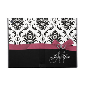 Monogrammed Black Damask Pink Bow Diamond Hearts iPad Mini Cover