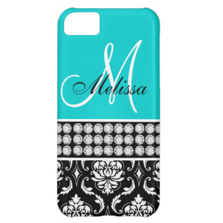 Monogrammed Black Damask Printed Diamonds Aqua Cover For iPhone 5C