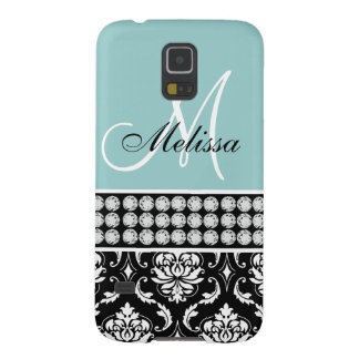 Monogrammed Black Damask Printed Diamonds Blue Galaxy S5 Cover