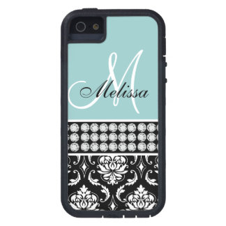 Monogrammed Black Damask Printed Diamonds Blue iPhone 5 Cover
