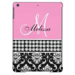 Monogrammed Black Damask Printed Diamonds Pink iPad Air Cases