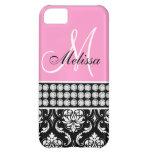 Monogrammed Black Damask Printed Diamonds Pink iPhone 5C Covers