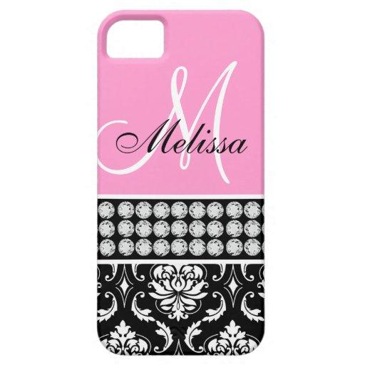 Monogrammed Black Damask Printed Diamonds Pink iPhone 5 Case