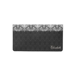 Monogrammed Black Damask White Lace Checkbook Cover