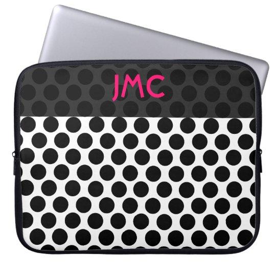 Monogrammed Black Dottie Laptop Sleeve