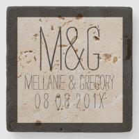 Monogrammed Black Frame Wedding Text Design Stone Coaster