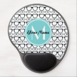 "Monogrammed Black Glasses Aqua Personalized Name Gel Mouse Pad<br><div class=""desc"">black geek glasses pattern with aqua custom monogram and personalized name.</div>"