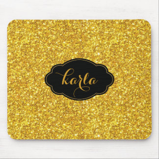 Monogrammed Black & Gold Glitter Texture Mouse Pad