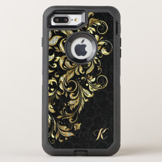 Monogrammed Black Gold & White Glitter Floral Lace OtterBox Defender iPhone 7 Plus Case
