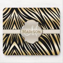 Monogrammed Black Gold Zebra Print Pattern Mouse Pad