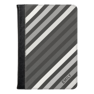 Monogrammed Black Gray And White Stripes Kindle Case