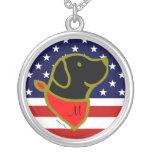 Monogrammed Black Labrador US Flag Pendant