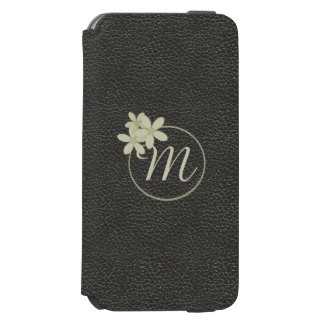 Monogrammed Black Leather Effect iPhone 6s Wallet