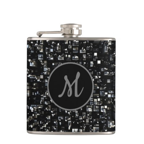 Monogrammed Black Metal Mosaic Flask