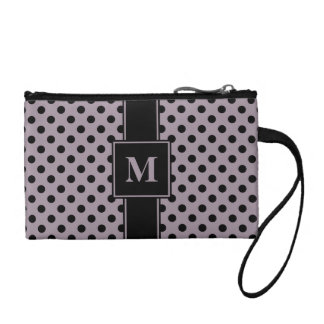 Monogrammed Black on Sea Fog Polka Dots Coin Wallet