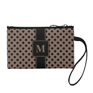 Monogrammed Black on Taupe Polka Dots Coin Purses