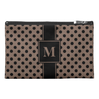 Monogrammed Black on Taupe Polka Dots Travel Accessory Bag
