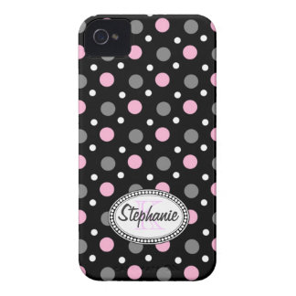 Monogrammed black pink white polka dots iPhone 4 Case-Mate case