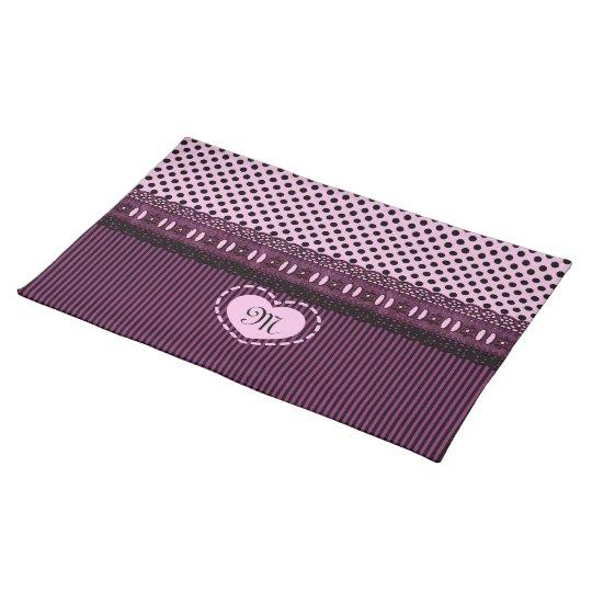 Monogrammed Black Polka Dots Stripes Lace Purple Cloth Placemat