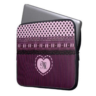 Monogrammed Black Polka Dots Stripes Lace Purple Laptop Sleeve
