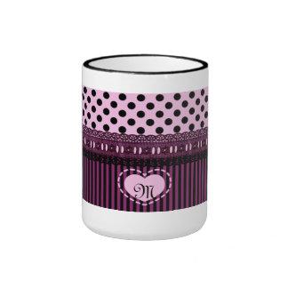 Monogrammed Black Polka Dots Stripes Lace Purple Mug