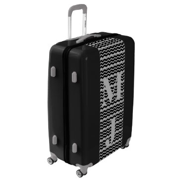 Aztec Themed Monogrammed Black Silver Grey Aztec Suitcase