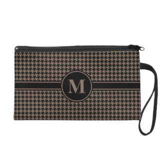 Monogrammed Black/Taupe Houndstooth Wristlet Clutches