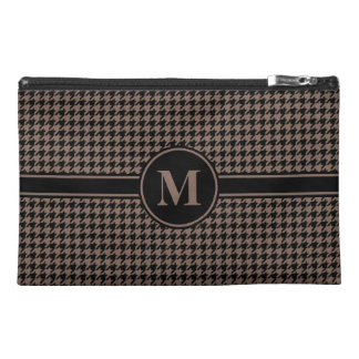 Monogrammed Black/Taupe Houndstooth Travel Accessory Bags