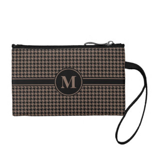 Monogrammed Black/Taupe Houndstooth Coin Wallet
