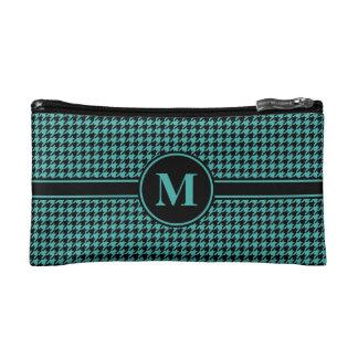 Monogrammed Black/Verdigris Green Houndstooth Makeup Bag