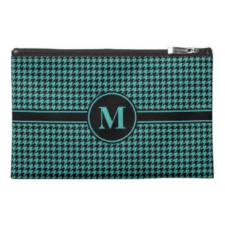 Monogrammed Black/Verdigris Green Houndstooth Travel Accessories Bags