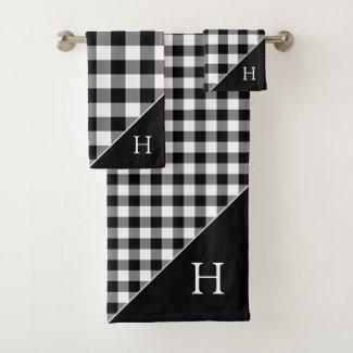 Monogrammed Black White Buffalo Check Pattern Bath Towel Set