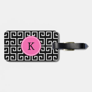 Monogrammed Black, White, Pink Geometric Pattern Tag For Bags