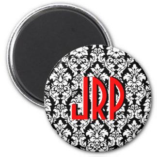 Monogrammed Black White Red Damask 2 Inch Round Magnet
