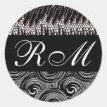 Monogrammed Black White Sticker