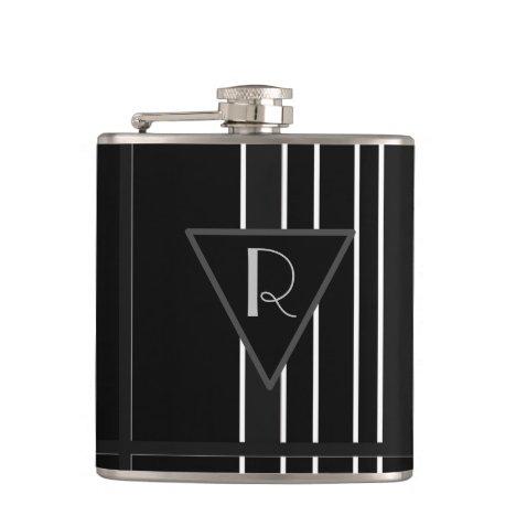 Monogrammed Black & White Striped Flask