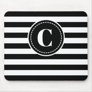 Monogrammed Black/White Striped Mouse Pad